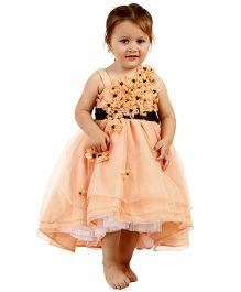Kidology Crystal Flower Design Dress - Peach
