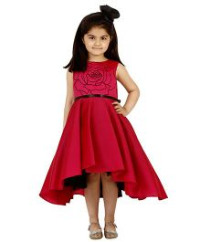 Kidology Russian Rose Design Flare Dress - Fuchsia