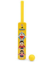 Doraemon Plastic Bat And Ball - Yellow