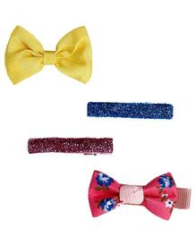 D'Chica Floral Plain & Blingy Set Of 4 Clips - Yellow Pink & Blue