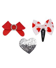 D'Chica Made With Love Set Of 3 Hair Accessories - Red White & Silver