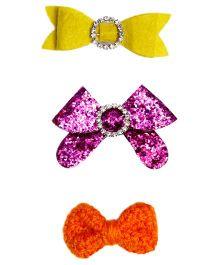 D'Chica Crochet Blingy & Plain Bow Clip Set Of 3 - Purple Orange & Yellow