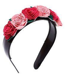 D'Chica Rosette Hairband - Red & Black