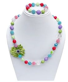 D'Chica Flower & Beads Necklace With Bracelet Set - Multicoloured