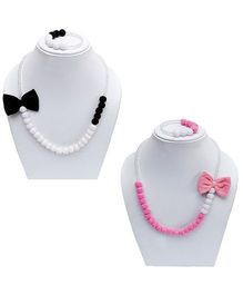D'Chica Side Bow Pendant With Pearls Necklace & Bracelet Set In 2 Set - White & Pink