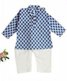 BownBee Ikhat Print Cotton Kurta Payjama - Blue