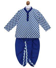 BownBee Sanganeri Print Cotton Kurta & Dhoti Set - Blue