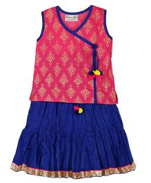 BownBee Sanganeri Print Top & Ghaghra Set - Pink & Navy Blue