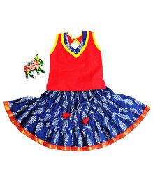 BownBee Sanganeri Print Ghaghra With Top Set - Red & Blue