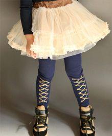 Wonderland Leggings With Criss Crosss Design - Blue