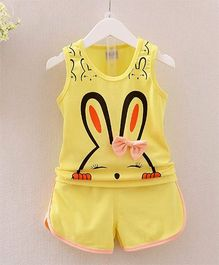 Wonderland Bunny Printed Top With Shorts - Yellow
