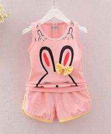 Wonderland Bunny Printed Top With Shorts - Pink