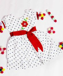Bunchi Polka Dot Dress With Flower Embroidery - White & Red