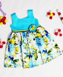 Bunchi Floral Dress With Flower Applique - White & Blue