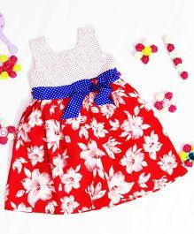 Bunchi Floral Dress With Polka Dot Yoke - White & Red
