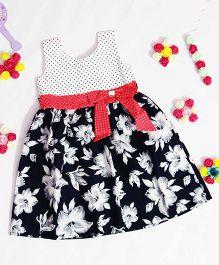 Bunchi Floral Dress With Polka Dot Yoke - Black & White