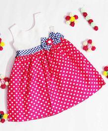 Bunchi Polka Dot Cotton Dress - Pink & White