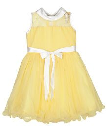 Bunchi High Neck Daisy Party Dress - Yellow