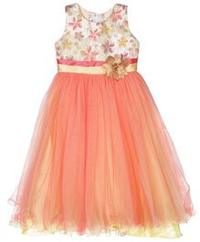 Bunchi Floral Yoke Party Gown - Orange