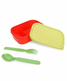 Pratap Plastic Lunch Box With Spoon And Fork - Green And Red