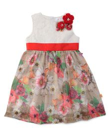 Yellow Duck Sleeveless Frock Floral Print With Waistband - Red And White
