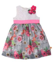 Yellow Duck Sleeveless Frock Floral Print With Waistband - Pink And White