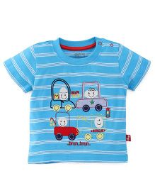 Bodycare Half Sleeves Striped T-Shirt With Embroidery - Sky Blue