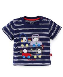 Bodycare Half Sleeves Striped T-Shirt With Embroidery - Navy