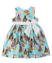 Yellow Duck Sleeveless Printed Party Frock - Blue