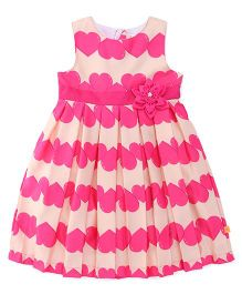 Yellow Duck Sleeveless Frock Heart Print Floral Applique - Pink