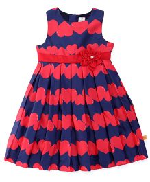 Yellow Duck Sleeveless Frock Flower Applique - Red Navy
