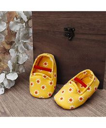 D'chica Gorgeous Flower Print Booties - Yellow