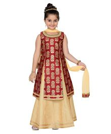 Adiva Sleeveless Kurti Lehenga With Dupatta - Maroon Light Beige