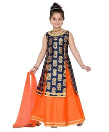 Adiva Sleeveless Kurti Lehenga With Dupatta - Navy Orange