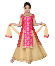 Adiva Sleeveless Kurti Lehenga With Dupatta - Pink Light Beige