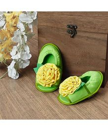 D'chica Flower Applique Peep Toes Sandal Booties - Light Green