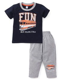 Teddy Half Sleeves T-Shirt And Leggings Set Fun Print - Navy Blue Grey