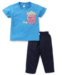 Teddy Half Sleeves T-Shirt And Leggings Set Popcorn Print - Blue