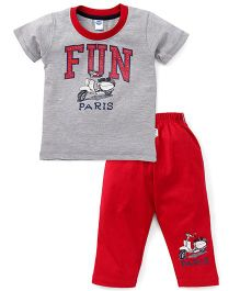 Teddy Half Sleeves T-Shirt And Leggings Set Fun Print - Grey Red
