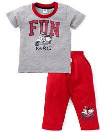 Teddy Half Sleeves T-Shirt And Leggings Set Fun Print - Grey Red