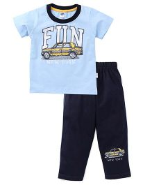 Teddy Half Sleeves T-Shirt & Bottoms Set Fun Print - Sky Blue & Navy