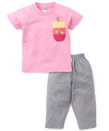 Teddy Half Sleeves T-Shirt And Leggings Set Ice Cream Patch - Pink Grey