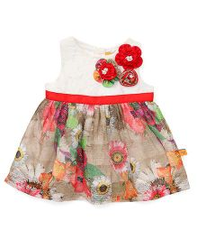 Yellow Duck Sleeveless Frock Floral Print - Red And White