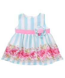 Yellow Duck Sleeveless Stripe Frock Flower Applique - Blue White