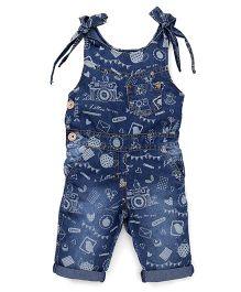 Little Kangaroos Denim Jumpsuit Printed - Blue