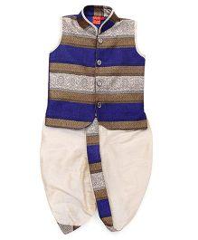 Ethnik's Neu Ron Sleeveless Embroidered Kurta & Dhoti Set - Royal Blue & Cream