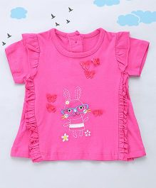 Sequences Bunny Embroidered Baby Tee - Purple