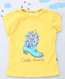 Sequences Decorative Boot Embroidered Tee - Yellow