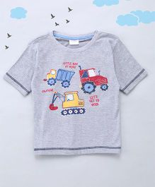 Sequences Little Men At Work Printed Tee - Grey