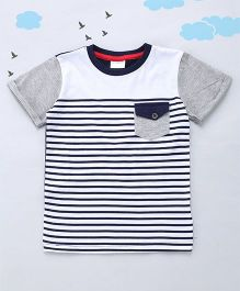 Sequences Stripe Tee With Pocket - White & Navy
